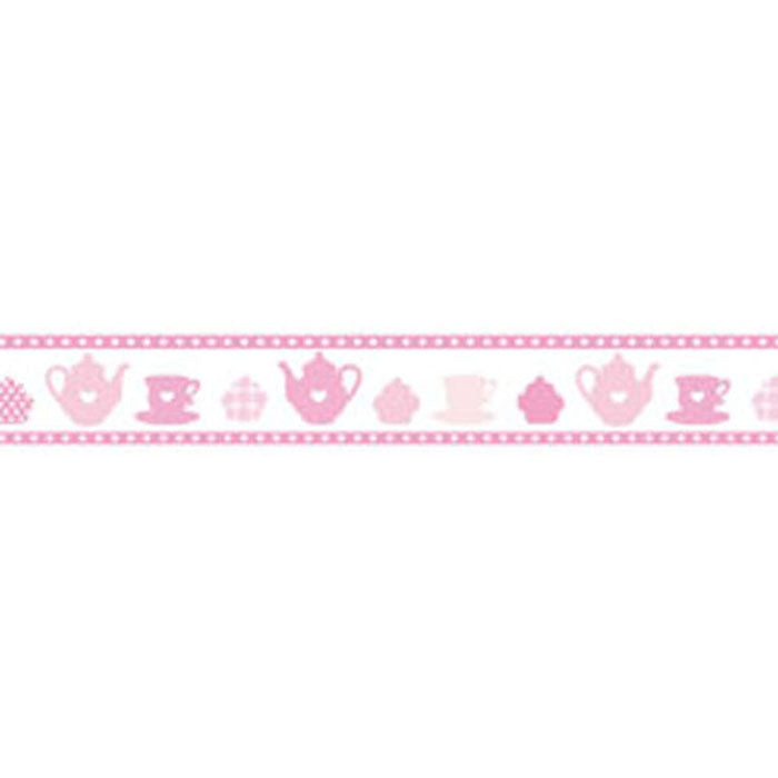 Stamperia Self Adhesive Deco Pink Teapots - 2cm by 10M