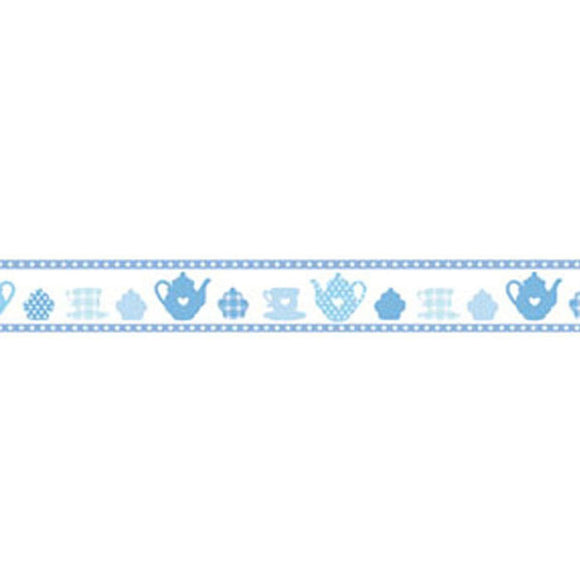 Stamperia Self Adhesive Deco Tape Blue Tea Party - 2cm by 10M