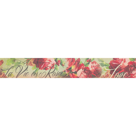 Stamperia Self Adhesive Deco Tape Love Rose - 3cm by 5M