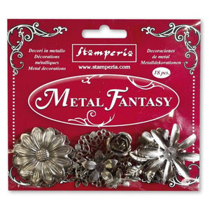 NEW Stamperia Metal Fantasy Embellishments - 18 PCS - SBA380 - DaliART