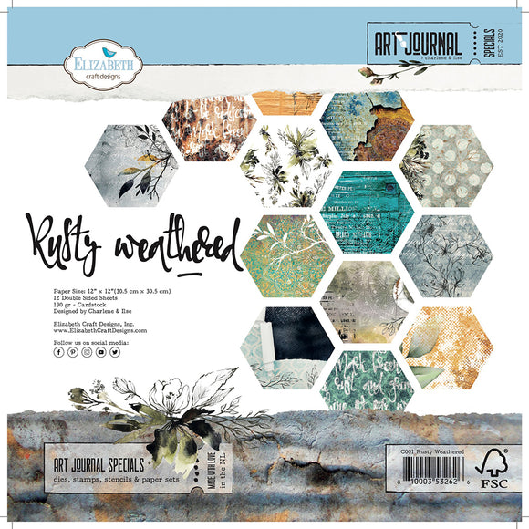 Elizabeth Craft Designs Art Journal 'Rusty Weather' 12x12