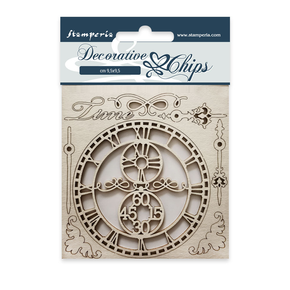 Stamperia Decorative chips cm. 9.5x9.5 Time- SCB22, Arts & Crafts by The Craft House