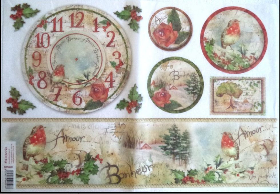 Stamperia 48x33cm Decoupage Rice Paper Christmas Clock- DFS281