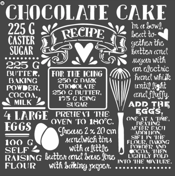 Stamperia 18 x 18 Flexible Stencil Chocolate cake KSTDQ59, Art & Crafting Tools by The Craft House