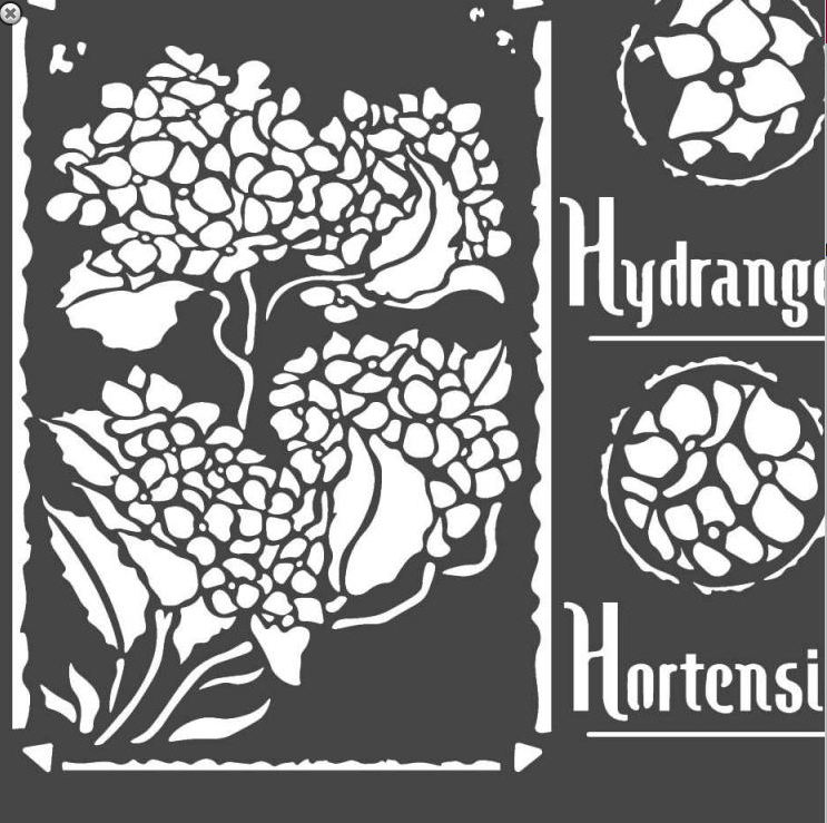 Stamperia 18 x 18 Flexible Stencil Hortensia Frames KSTDQ44, Craft Measuring & Marking Tools by The Craft House