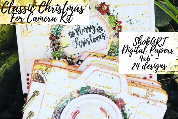Classic Christmas Papers 24 Designs-Camera Kit Digital Download