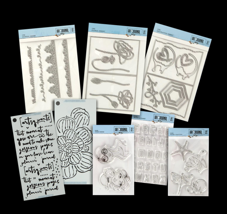 Elizabeth Craft Designs Art Journal Stamp, Stencil And Die Set 2