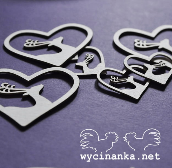 Wycinanka   3mm MDF -Vintage Heart Deer