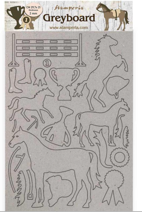 New Stamperia Greyboard A4/1 mm - Horses Trophy - KLSPDA434, Art & Craft Paper by The Craft House