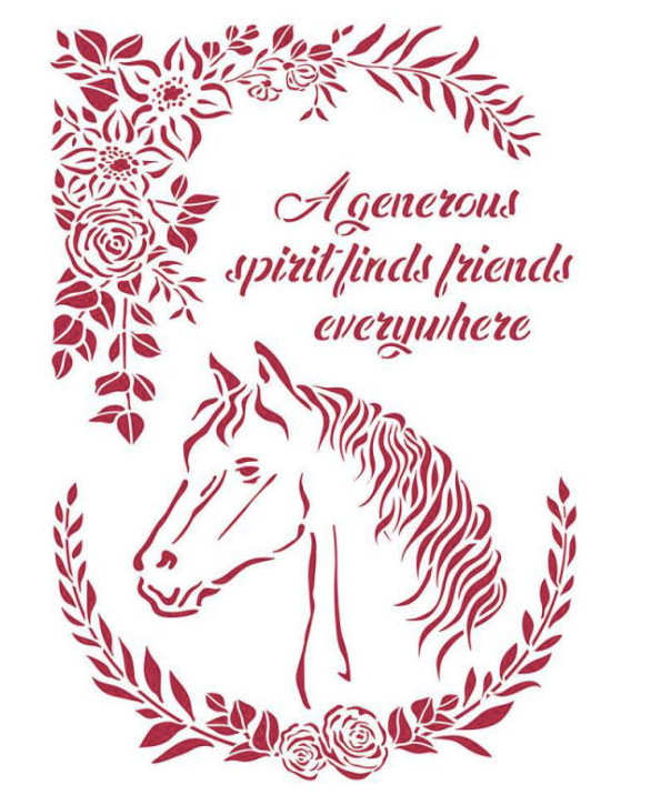 New Stamperia Stencil - Flexible transparent 21x29,7cm -Romantic Horses with Flowers -KSG471, Craft Measuring & Marking Tools by The Craft House