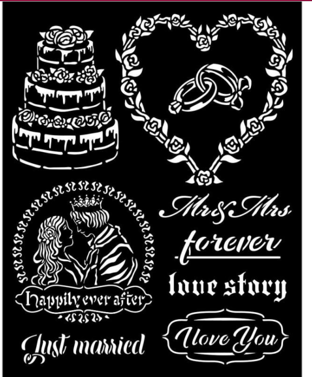 New Stamperia Stencil - Thick Stencil -20 x25cm Sleeping Beauty - Just Married KSTD080, Art & Crafting Tools by The Craft House