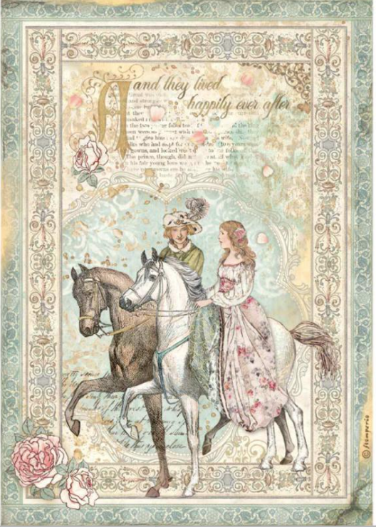 New Stamperia A4 Decoupage  Rice Paper Sleeping Beauty - Prince on Horse DFSA4575, Arts & Crafts by The Craft House