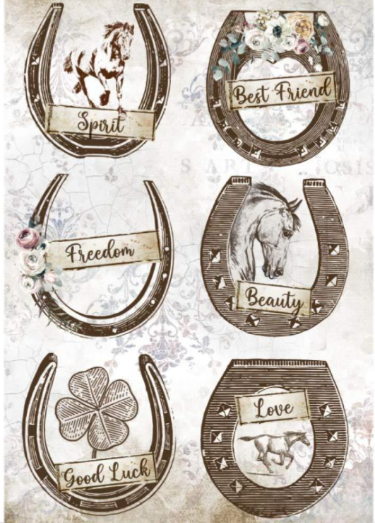 New Stamperia A4 Decoupage  Rice Paper Horse Shoes DFSA4583, Art & Craft Paper by The Craft House