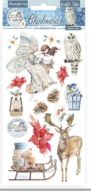 New Stamperia 15x30cm Chipboard - Winter Tales Elements - DFLCB33, Art & Craft Kits by The Craft House