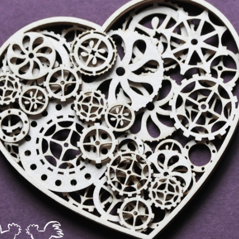 Wyncinaka 3 Layer Cog Heart - Chipboard