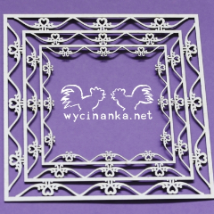 Wycinanka Swirls Square Frame - Chipboard