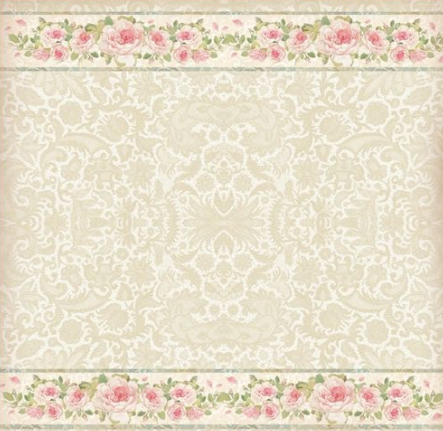 Stamperia 50 x 50cm Decoupage Rice Paper Lace Rose Border- DFT275