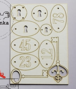Wycinanka  Number Plates and Keys- Chipboard