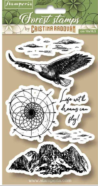 Stamperia Natural Rubber Stamps 10 x16.5 - Forest Eagle- WTKCCR07