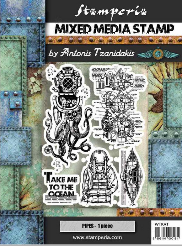 Stamperia Natural Rubber White Stamps 15 by 20cm - Sea World Octupus-  WTKAT12