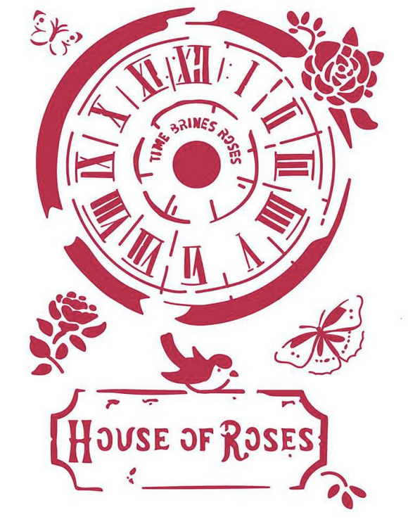 Stamperia Stencil - Flexible transparent 21x29,7cm - Clock House of Roses KSG442