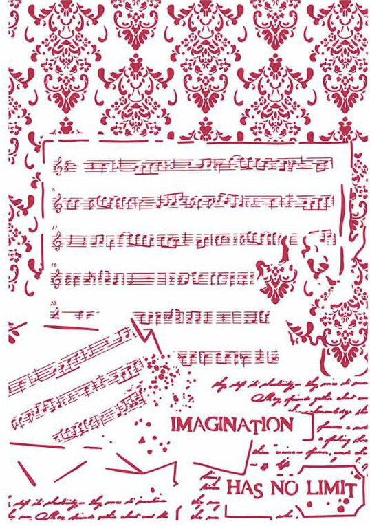 Stamperia Stencil - Flexible transparent 21x29,7cm - Music No Imagination KSG437, Craft Measuring & Marking Tools by The Craft House