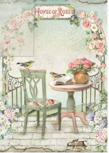 Stamperia A4 Decoupage House of Roses Paris DFSA4449, Art & Craft Paper by The Craft House