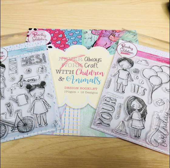 'Always Craft with Children and Animals' Design Booklet, Two Stamp Sets & Ink Pad.