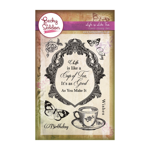 Becky Seddon 'Life is Like Tea' A6 Clear Stamp Set - DaliART