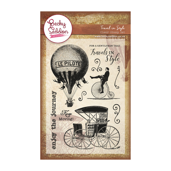 Becky Seddon 'Travel in Style' A6 Clear Stamp Set - DaliART