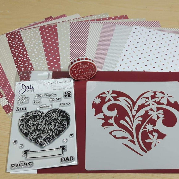 Valentines / Mother's Day Stamp, Stencil, Tape & Paper Kit