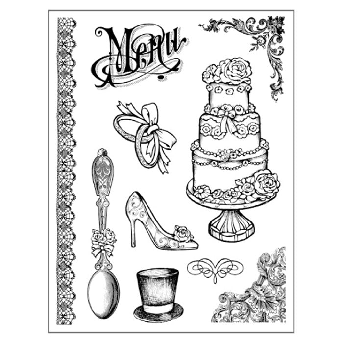Stamperia Natural Rubber Stamps 14 by 18cm - Wedding Menu - WTKCC102