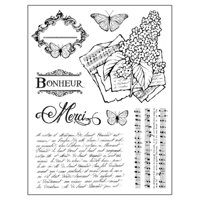 Stamperia Natural Rubber Stamps 14 by 18cm - Lilac