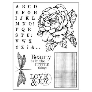 Stamperia Natural Rubber Stamps 14 by 18cm - Peony