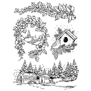 Stamperia Natural Rubber Stamps 14 by 18cm - Let it Snow