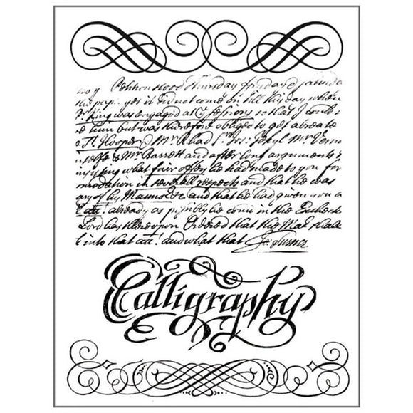 Stamperia Natural Rubber Stamps 14 by 18cm -Calligraphy - WTKCC118