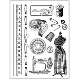 Stamperia Matching 14 x 18cm Stamp & A4 Stencil - Sewing