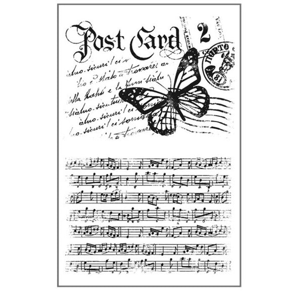 Stamperia Natural Rubber Stamps 7 by 11cm - Postcard Music