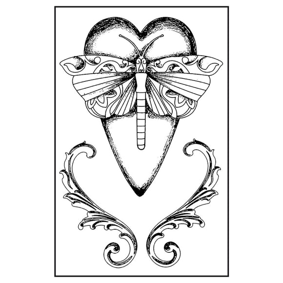 NEW Stamperia Natural Rubber Stamps 7x11cm - Dragonfly Heart