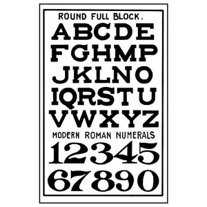 Stamperia Natural Rubber Stamps 7 by 11cm - Alphabet/Numerals