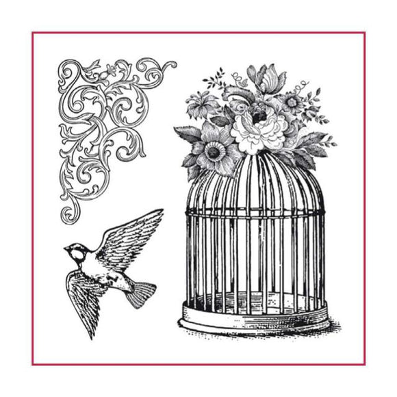 Stamperia Natural Rubber Stamps 10 by 10cm - Bird Cage