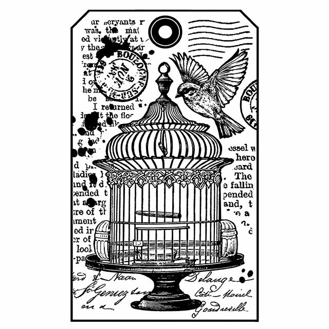 Stamperia Natural Rubber Stamps 7x11cm - Mixed Media Bird Cage Tag - WTKCC146, Hobbies & Creative Arts by The Craft House