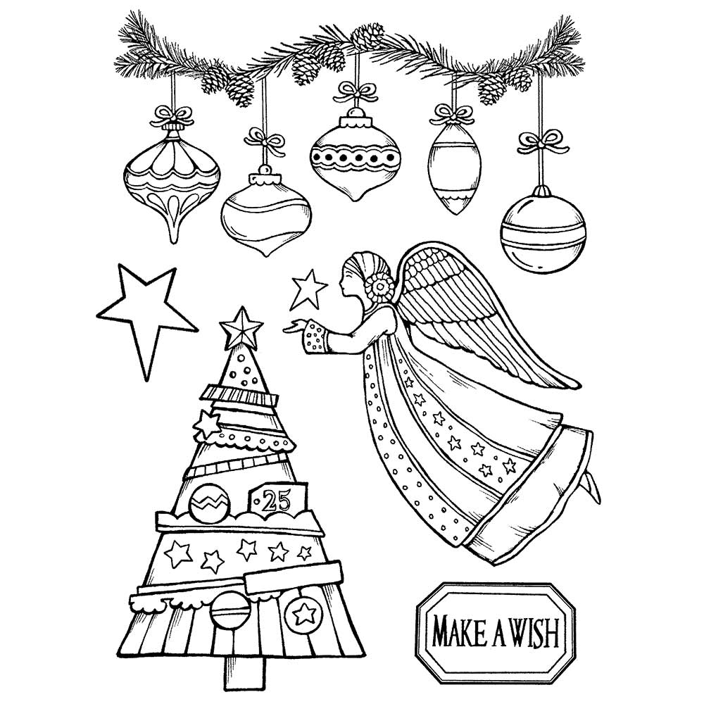 Stamperia Natural Rubber Stamps 14 x18 - Make a Wish Angel - WTKCCR162