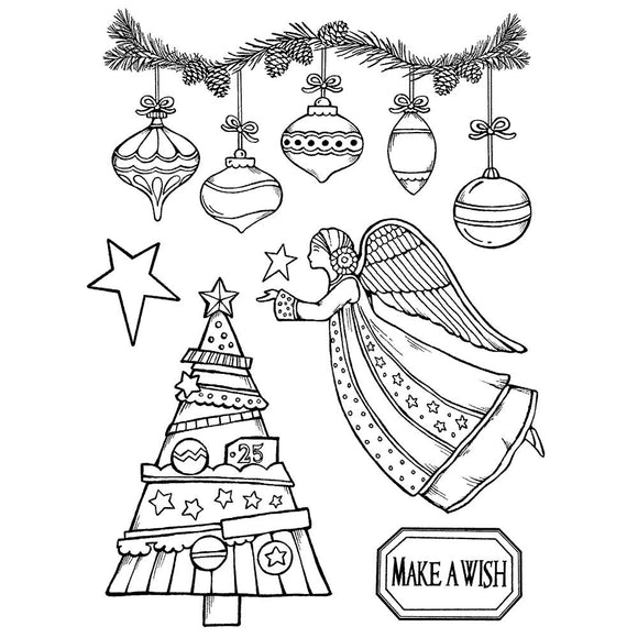 NEW Stamperia Natural Rubber Stamps 14 x18 - Make a Wish Angel - WTKCCR162