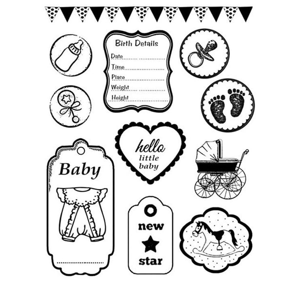 Stamperia Natural Rubber Stamps 14 by 18cm - New Baby