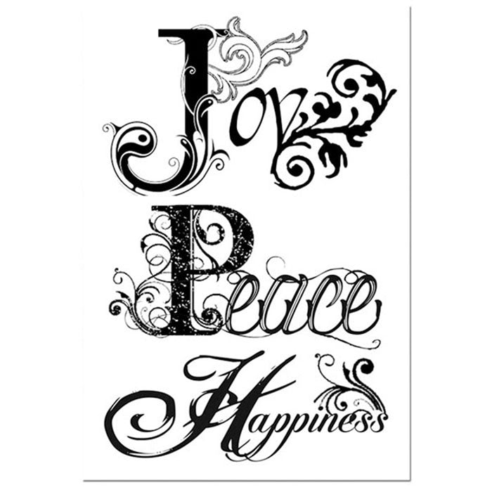 Stamperia Natural Rubber Stamps 7 by 11cm - Joy, Peace, Happiness