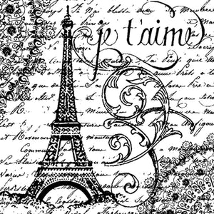 Stamperia Natural Rubber Stamps 10x10cm - Paris Je T'Aime