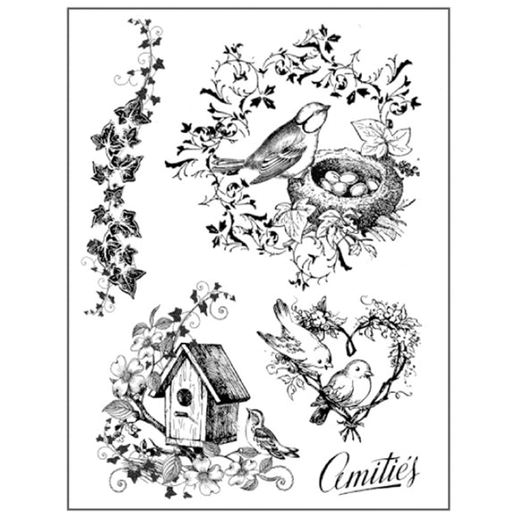Stamperia Natural Rubber Stamps 14 by 18cm - Birds Nest
