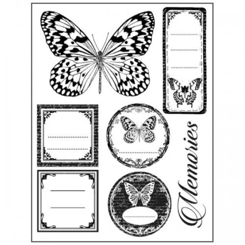 Stamperia Natural Rubber Stamps 14 by 18cm - Butterfly Memories