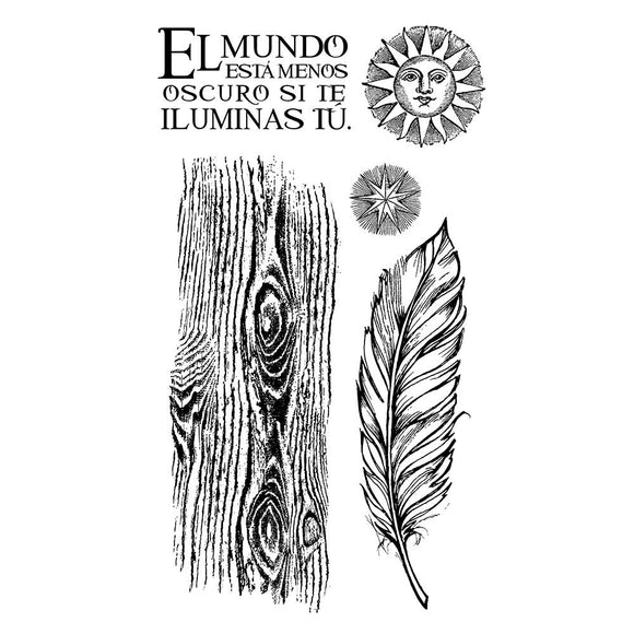 Pre-Order NEW Stamperia Natural Rubber Stamps 10 x16.5 - Cosmos Feather - WTKCCR06
